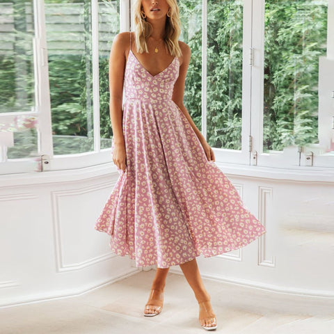 Sexy V-neck strapless printed midi dress