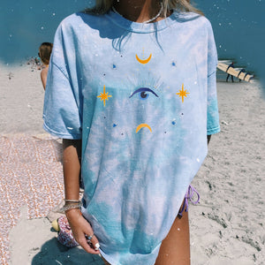 Casual Tie-dye Printed Short Sleeve Long T-shirt