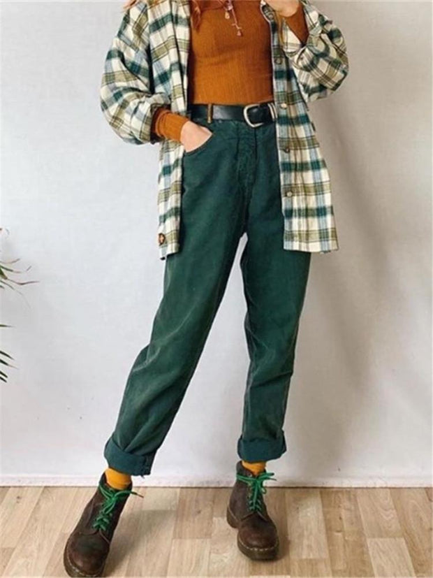 Casual Everyday Solid Color Trousers