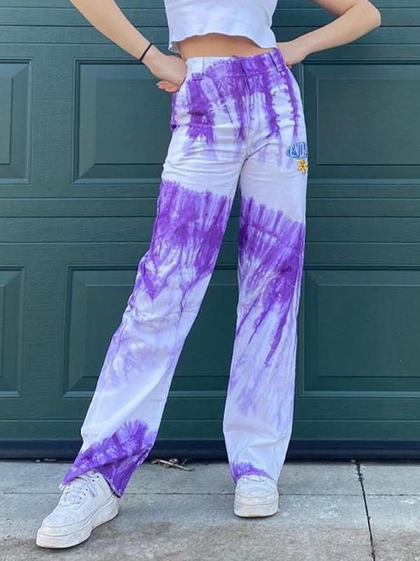 Fashion tie-dye printed letter embroidery high waist casual pants