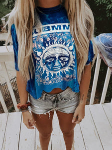 Casual Women's Round Neck Short Sleeve Fashion Print T-shirt