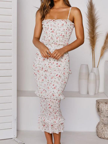 Elegant Floral Print Party Camisole Midi Dress