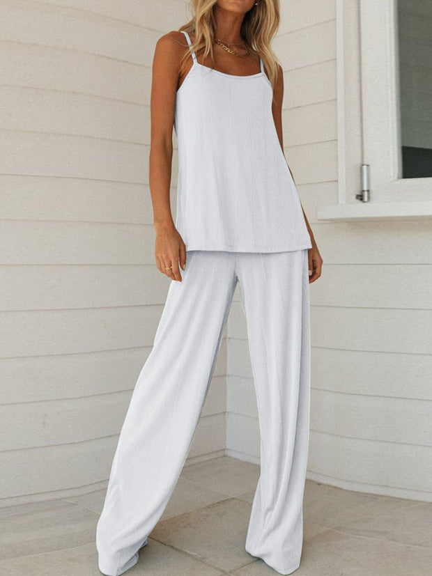 Simple Casual Loose Sling Top Pants Set