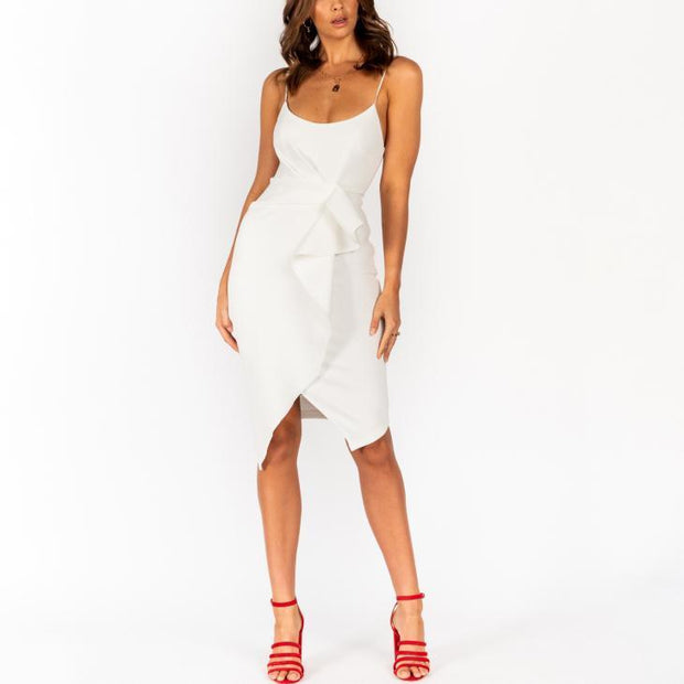 Strap Pleated Midi Dress