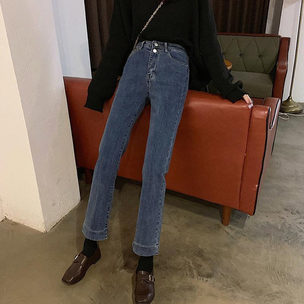 Popular slimming high waist straight-leg jeans