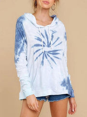 Women Fashion Tie Dye Hooded Sweatshirt
