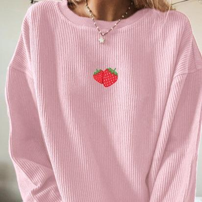 Woman casual pink loose strawberry pattern sweatshirts