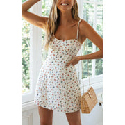 French Sling Floral Mini Dress