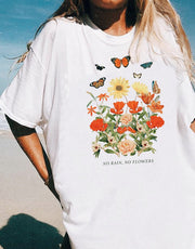 Women flowers and butterflies print T-shirt