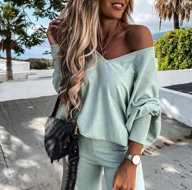 Women'S Fresh V-Neck Batwing Sleeve Two Piece Suit