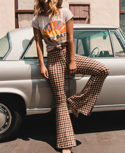 Plaid Print Slim Bootcut Trousers