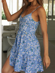 Women'S Temperament Strapless Sling Floral Mini Dress