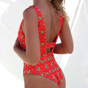 Women'S Strawberry High Waist Double-Sided One-Piece Bikini Print Swimsuit