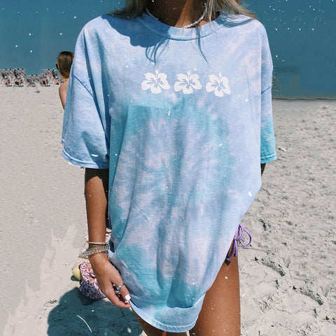 Women's tie-dye printing holiday style T-shirt