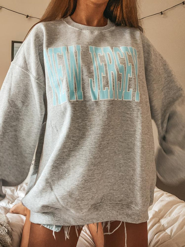 Woman casual simple loose letter round neck Sweatshirts
