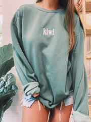 Woman casual loose KIWI round neck Sweatshirts