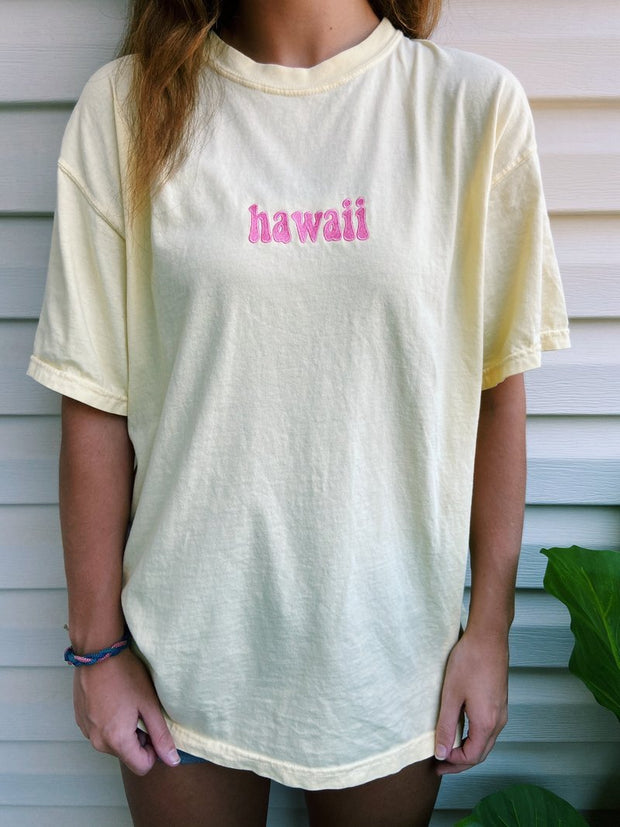 Embroider Hawwai  Short Sleeve Letter Printing T-Shirt