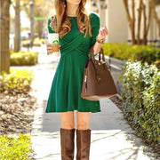 FASHION CROSSOVER LONG SLEEVE CASUAL DRESS