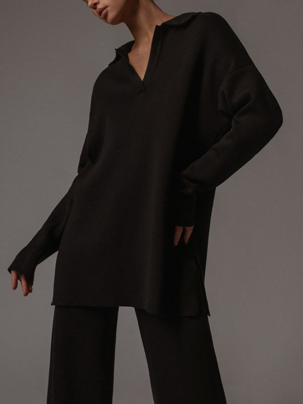 Women'S Polo Collar Long Sleeve Comfort Suit