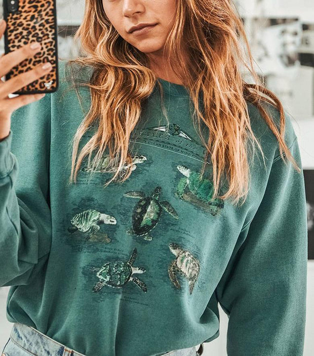 Woman fashion simple turtle pattern round neck Sweatshirts