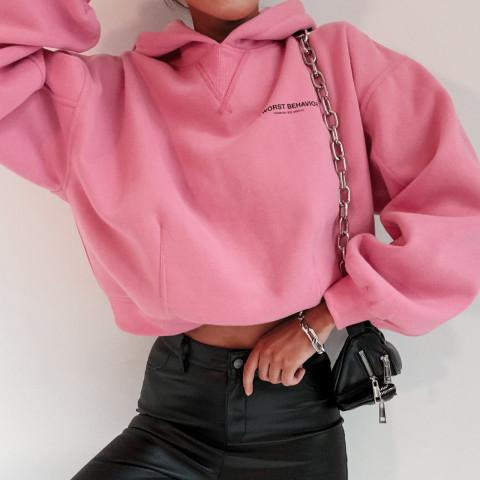 Woman casual pink hooded loose sweatshirts