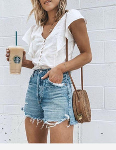 Pure Color High Waist Broken Hole Cowboy Shorts