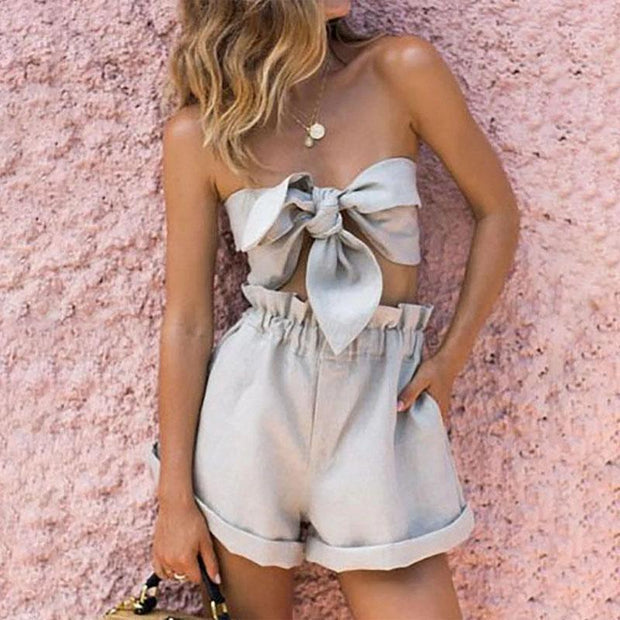 Fashion Sexy Belted Strapless Two Piece Sets