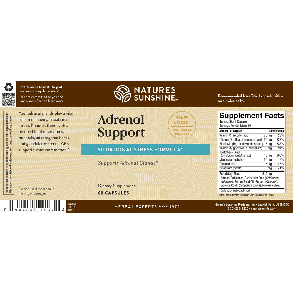 Help maintain normal adrenal function and maximize your body's ability to regulate stress with Adrenal Support.