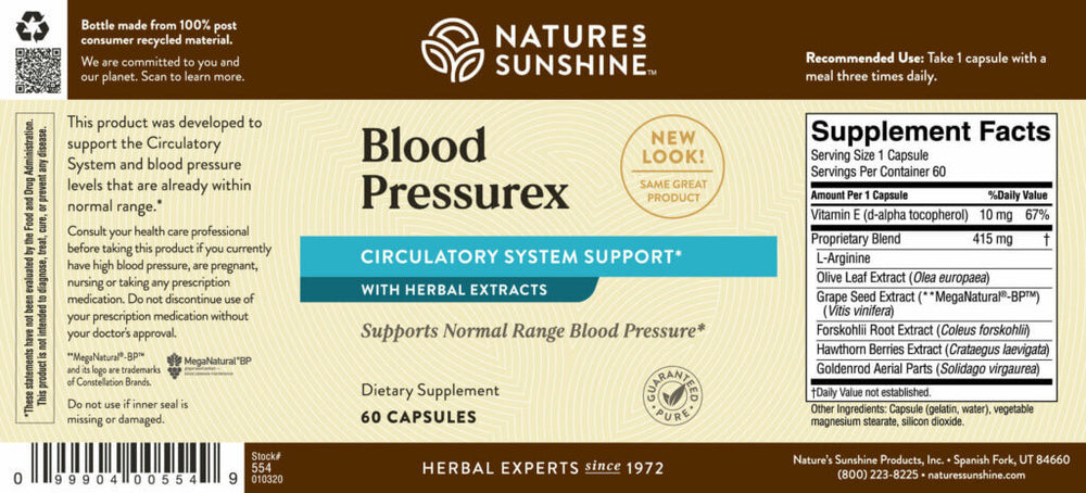 Load image into Gallery viewer, Blood Pressurex promotes optimal blood flow, supports blood pressure levels already in the normal range, and supports blood vessel and cardiovascular health.
