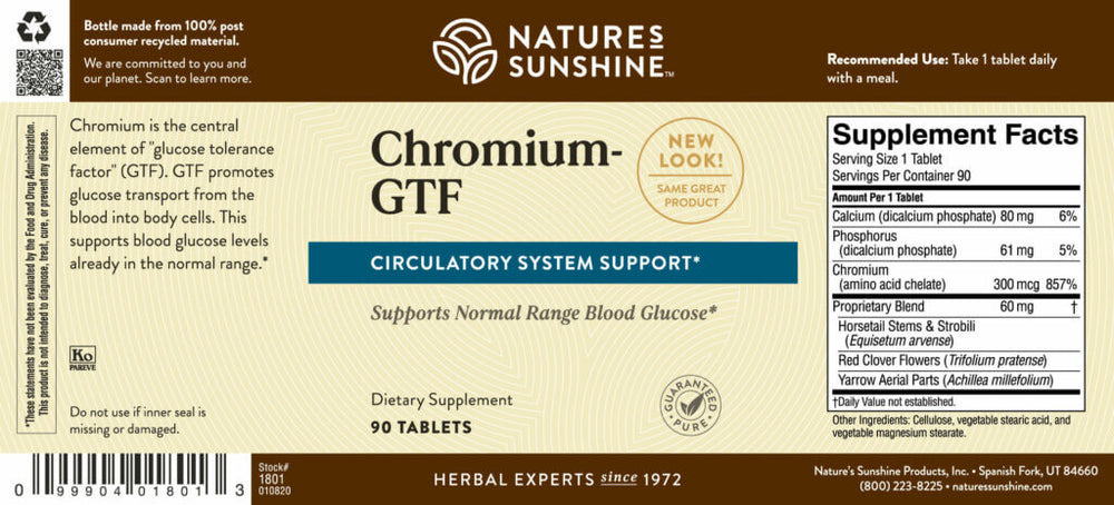 Chromium promotes blood sugar and blood fat levels already in the normal range. It helps transport glucose into the cells.