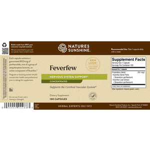 High-parthenolide Feverfew Concentrate provides nutrition to the central nervous system.