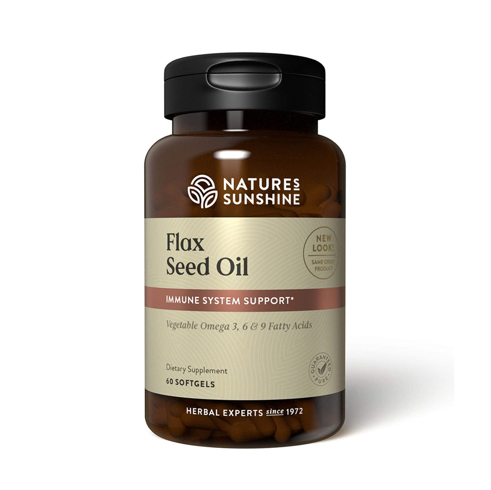 Nature's Sunshine Flax Seed Oil with Lignans supports heart health and stimulates immune activity. Flaxseed oil, a rich source of omega-3 essential fatty acids, contains two times as much omega-3 as fish oil. The body is unable to produce these fatty acids on its own, but they provide valuable benefits to the heart. The lignans included Flaxseed Oil with Lignans provide immune system support. Flax Seed Oil with Lignans capsules include omega-3, omega-6, and omega-9 essential fatty acids.