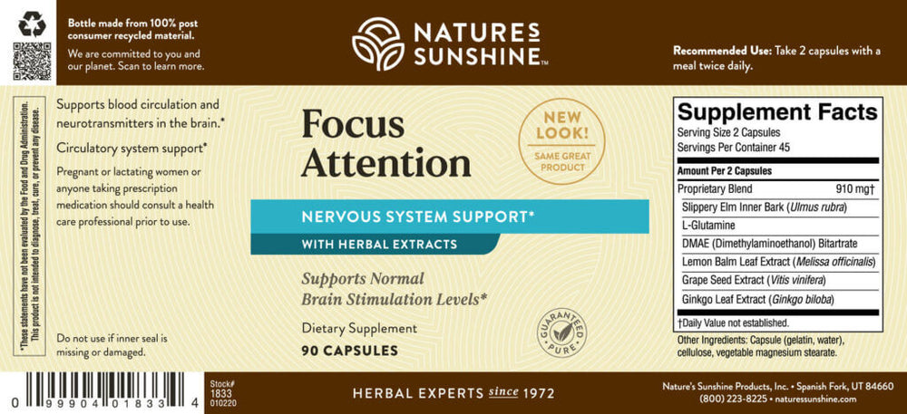 Focus Attention provides nutrients that help maintain normal brain-stimulation levels while supporting blood circulation and neurotransmitter levels in the brain.