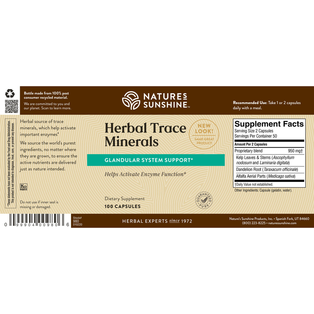 Herbal Trace Minerals provide nutrients that may be beneficial for glandular, digestive, and eliminative functions.