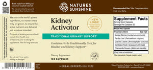 Kidney Activator supports bladder and kidney health. It encourages proper water balance in body tissues and may help prevent stone formation.