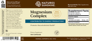 Magnesium helps muscles relax and maximizes energy production as it supports both the nervous and skeletal systems. Provides 100 mg per capsule.