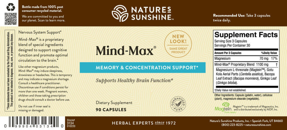 Mind-Max Supports brain function, memory and concentration.