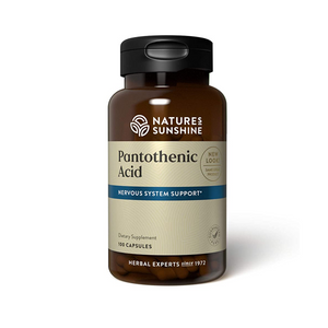 Pantothenic Acid, also known as Vitamin B5, supports the nervous and glandular systems. It supports adrenal gland function, tissue repair, and is needed to make certain hormones and neurotransmitters.