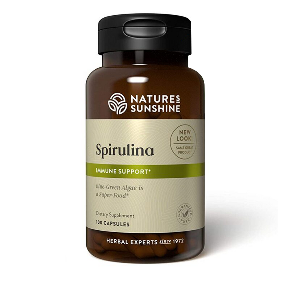 Nature's Sunshine Spirulina blue-green algae supplement provides protein and vitamin B12.