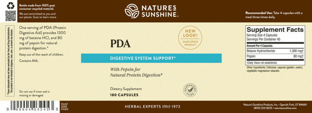 PDA Combination supports gastric health as it helps with the digestion of proteins.