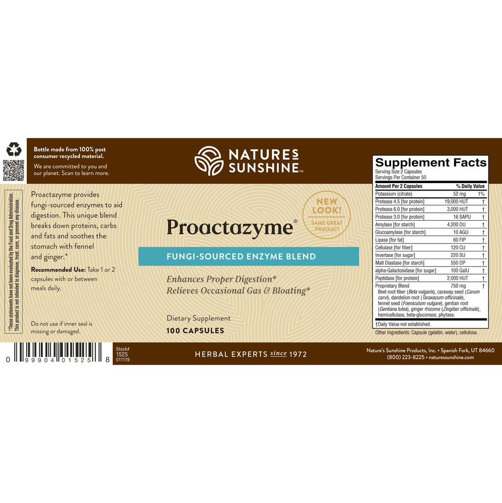 Proactazyme provides plant-sourced digestive enzymes that improve digestive efficiency and maximize nutrient absorption.