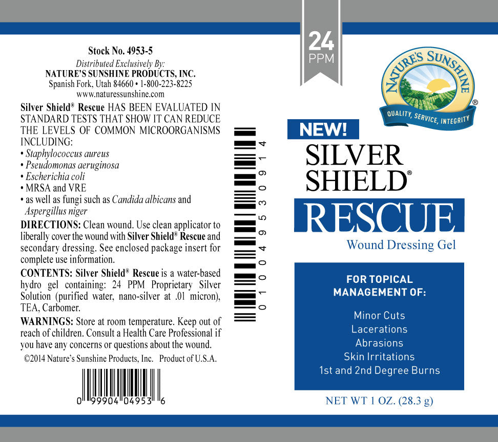 Silver Shield Rescue Gel Rescue Gel is for use in moist wound care management. Apply to minor cuts, lacerations, abrasions, skin irritations, and first- and second-degree burns to help inhibit the growth of microorganisms within the dressing.