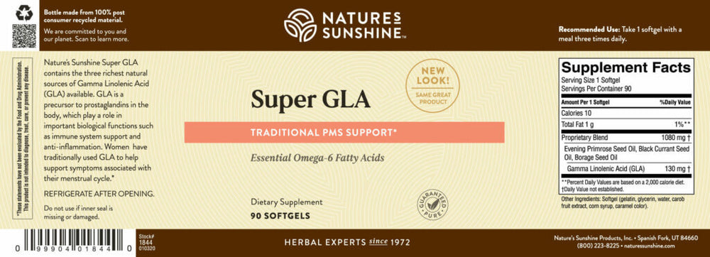 Super GLA Oil Blend provides omega-6 fatty acids that benefit the female glandular system and play a role in nerve development and function.