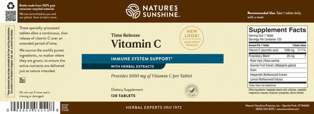 Give your immune system a boost all day long with Time-Release Vitamin C. Provides 1,000 mg/tablet.