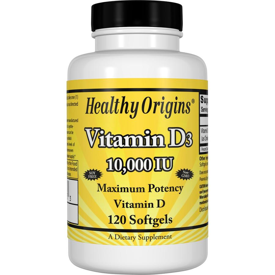 Healthy Origins Vitamin D3 10,000 is a key nutrient manufactured in a highly absorbable liquid softgel form.