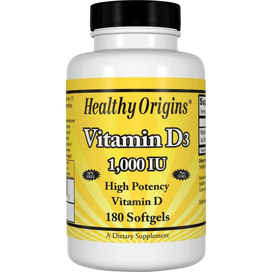 Healthy Origins Vitamin D3 1000 is a key nutrient manufactured in a highly absorbable liquid softgel form.