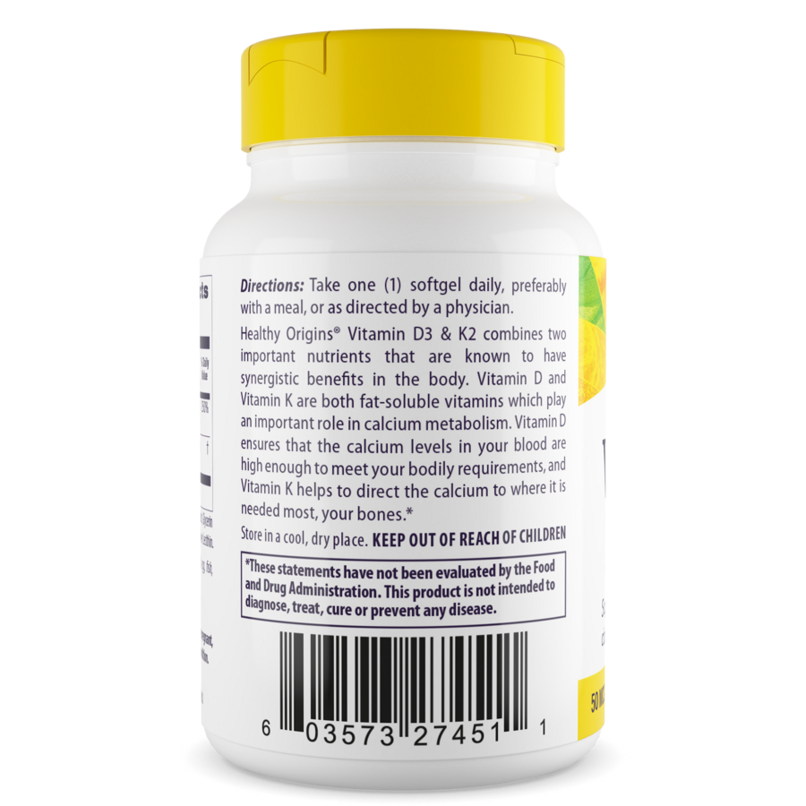 Healthy Origins Vitamin D3 50 mcg (2,000 IU) & K2 200 mcg combines two important nutrients in the body.