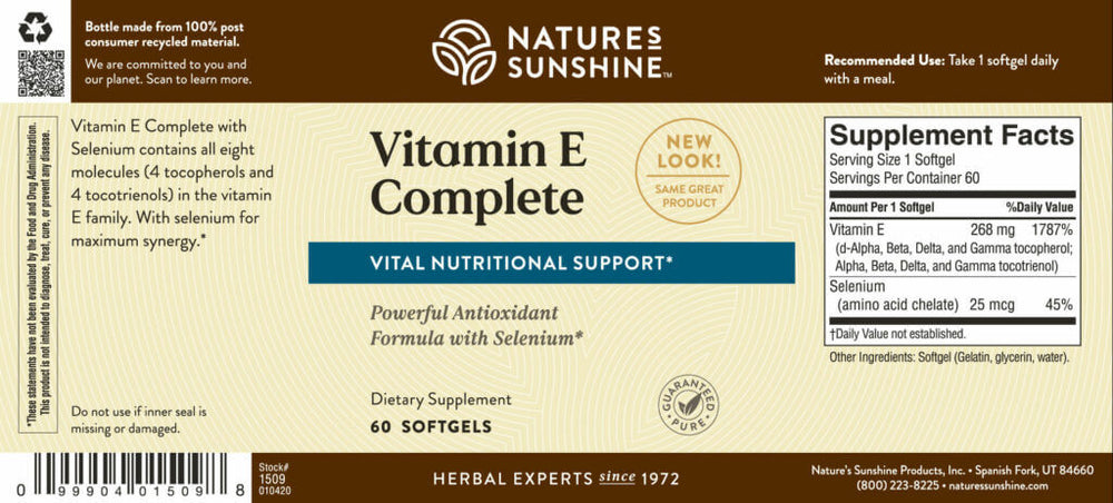Vitamin E Complete with Selenium supports circulation and protects against free radicals. Our complete formula provides more benefits than products that contain only alpha-tocopherol.