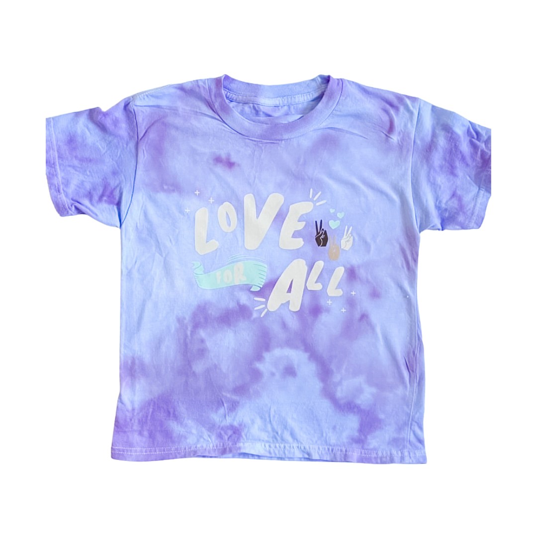 Love For All Tie Dye Lavender Kids T-Shirt
