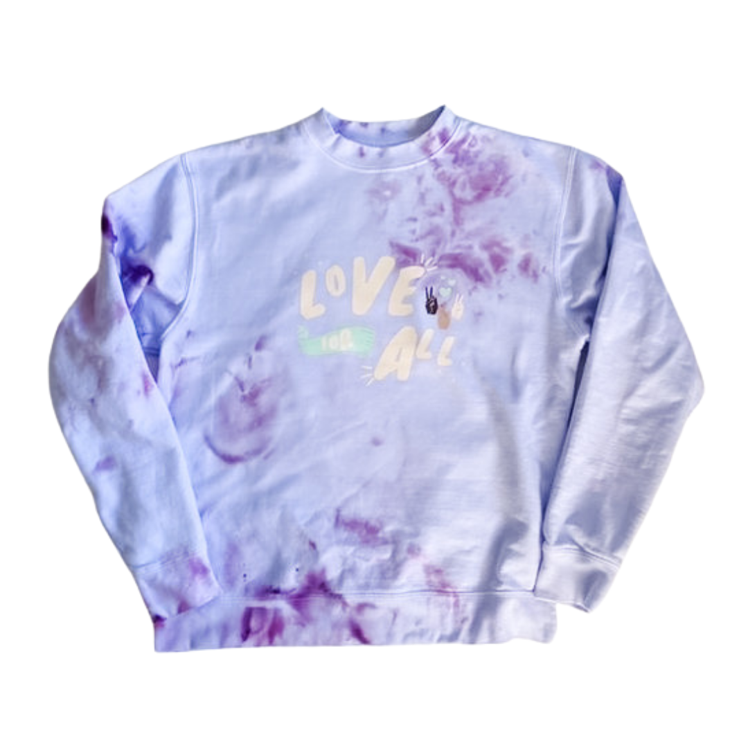 Love For All Tie Dye Lavender Adult Crewneck Sweater